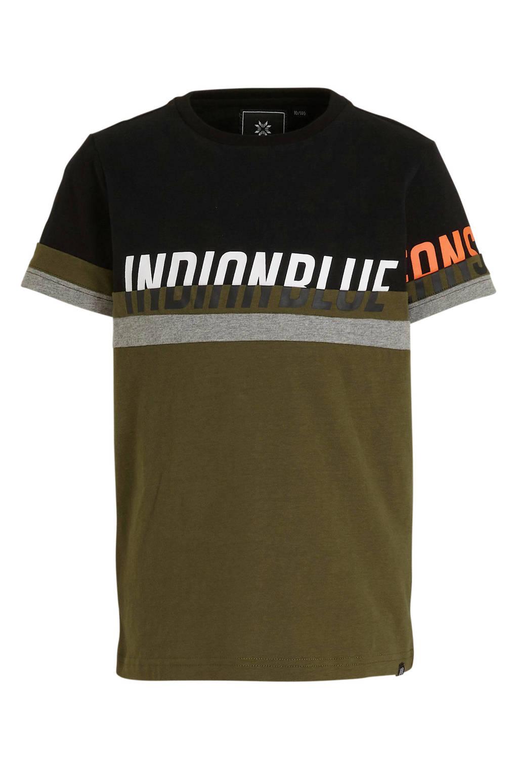 Indian Blue Jeans T-shirt met tekst army groen/zwart/wit, Army groen/zwart/wit