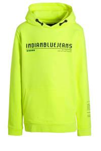 Indian Blue Jeans hoodie met tekst neon geel/zwart, Neon geel/zwart