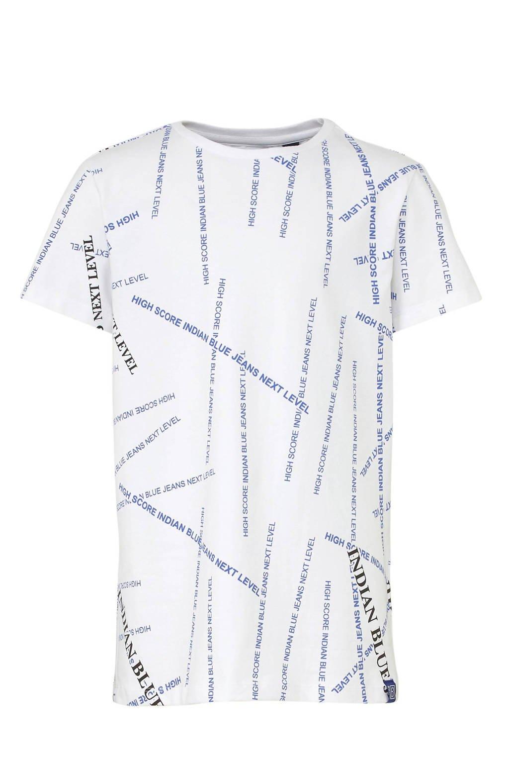 Indian Blue Jeans T-shirt met all over print wit/blauw/zwart, Wit/blauw/zwart