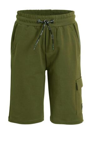 slim fit cargo sweatshort met zijstreep army groen