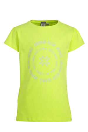 T-shirt met printopdruk limegroen/wit