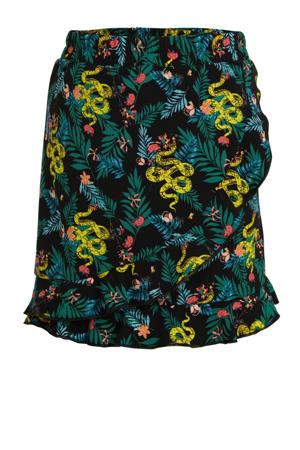 rok met all over print en volant zwart/groen/geel