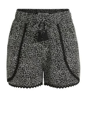 regular fit short met all over print zwart/wit