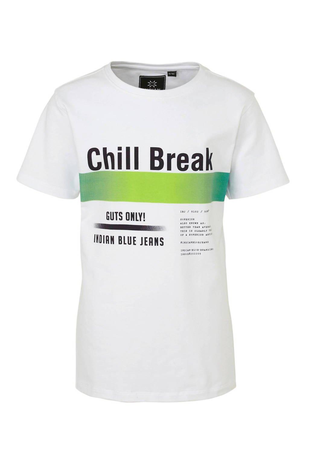Indian Blue Jeans T-shirt met tekst wit/zwart/groen