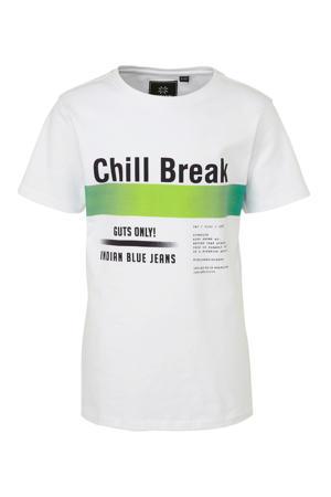 T-shirt met tekst wit/zwart/groen