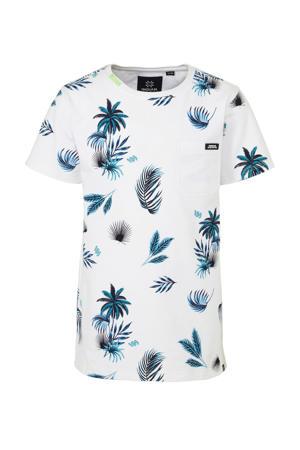 T-shirt met all over print wit/zwart/blauw