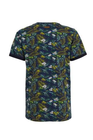 T-shirt met all over print blauw/groen/wit