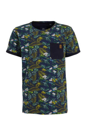 T-shirt met all over print blauw/groen/wit