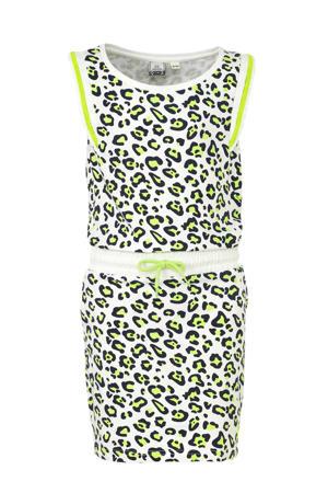 jersey jurk met dierenprint wit/zwart/groen
