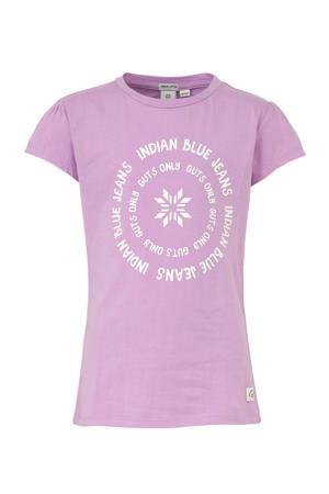 T-shirt met printopdruk lila/wit