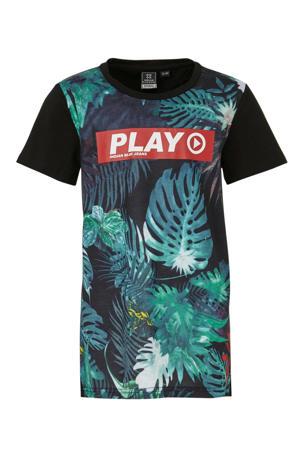 T-shirt met bladprint zwart/blauw/rood