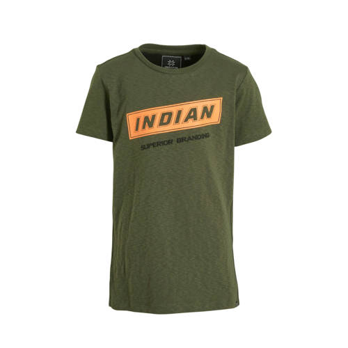 Indian Blue Jeans T-shirt met tekst army groen/ora