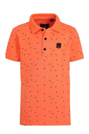 polo met all over print oranje/zwart