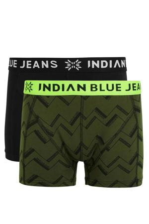 boxershort - set van 2 army groen/zwart
