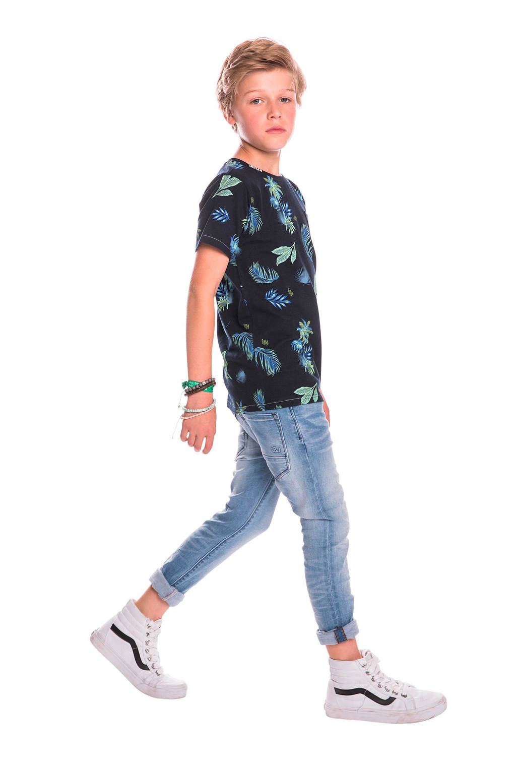 Indian Blue Jeans T-shirt met all over print donkerblauw/groen/blauw, Donkerblauw/groen/blauw
