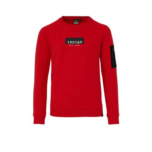 Indian Blue Jeans sweater met tekst rood/zwart/wit