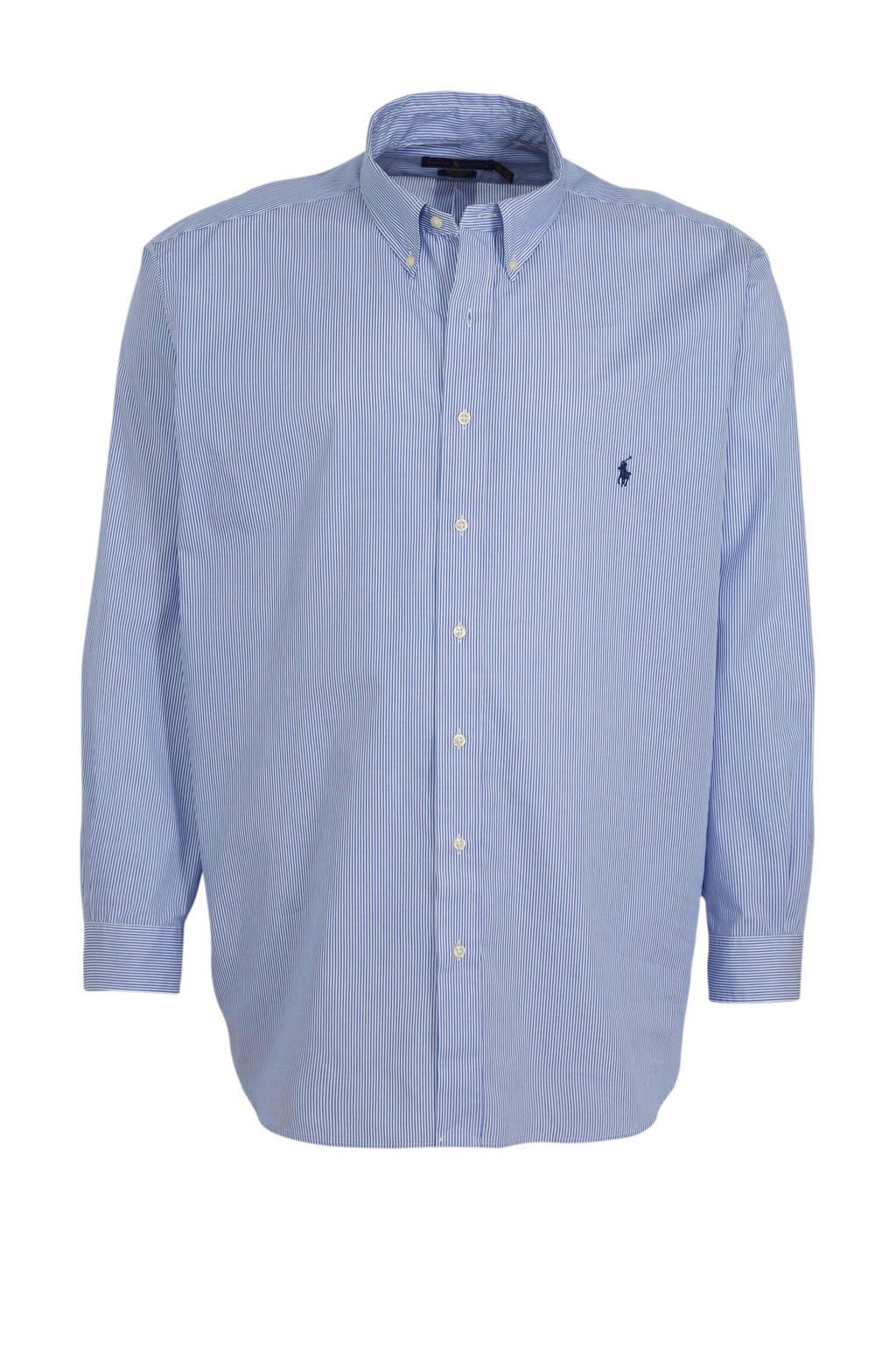 POLO Ralph Lauren Big & Tall +size gestreept regular fit overhemd lichtblauw, Lichtblauw