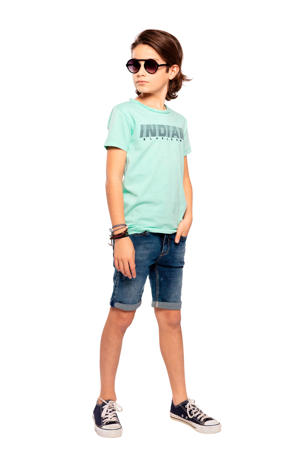 T-shirt met tekst mintgroen/donkerblauw