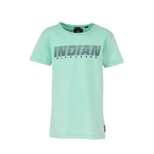 Indian Blue Jeans T-shirt met tekst mintgroen/donk