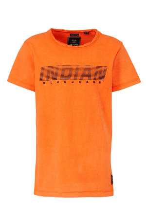 T-shirt met tekst oranje/zwart