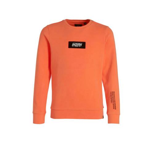 Indian Blue Jeans sweater met logo oranje