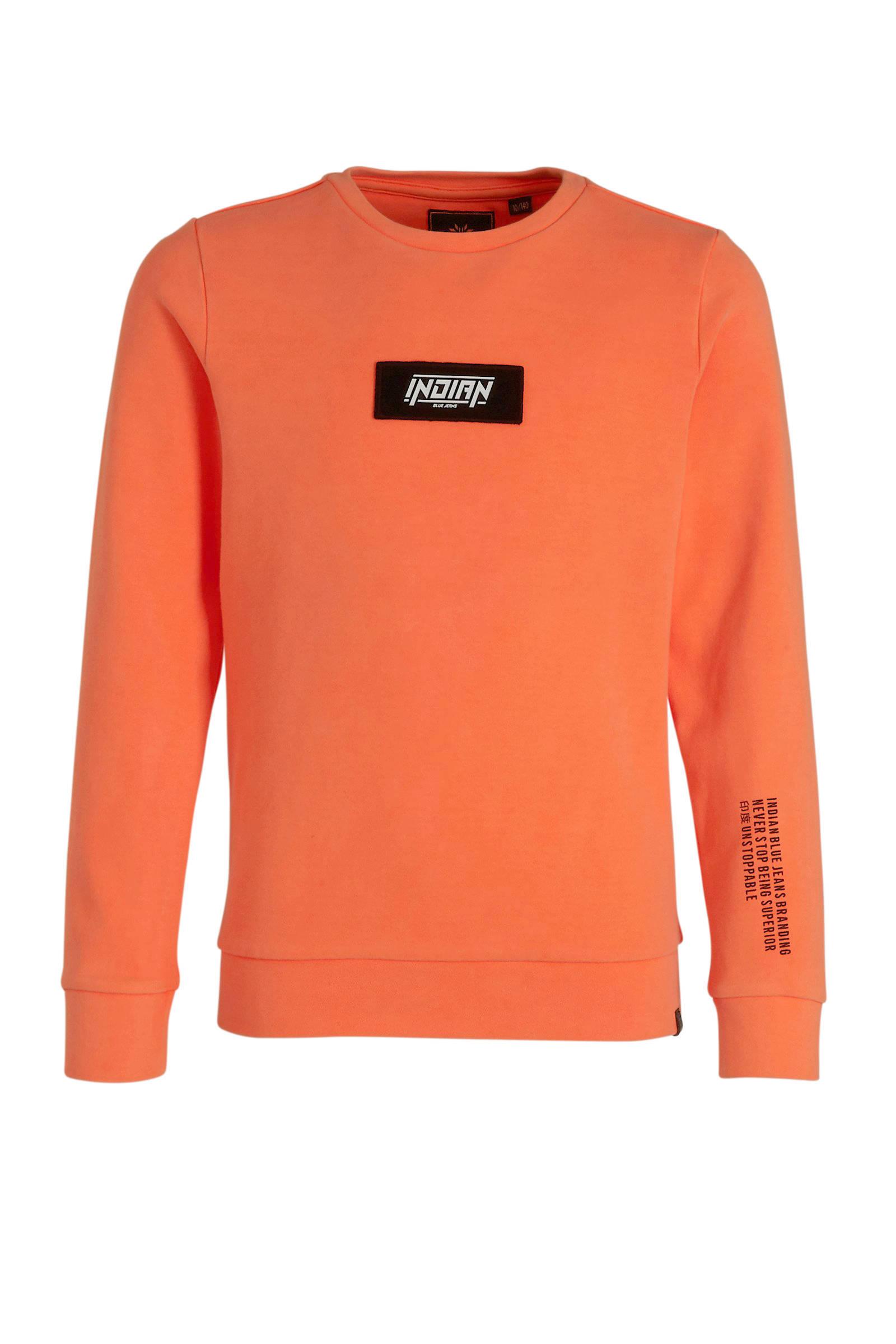 Indian Blue Jeans sweater met logo oranje | wehkamp