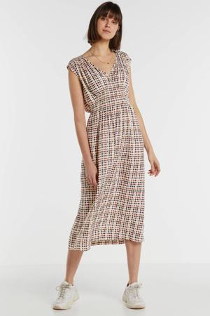 maxi jurk met all over print beige