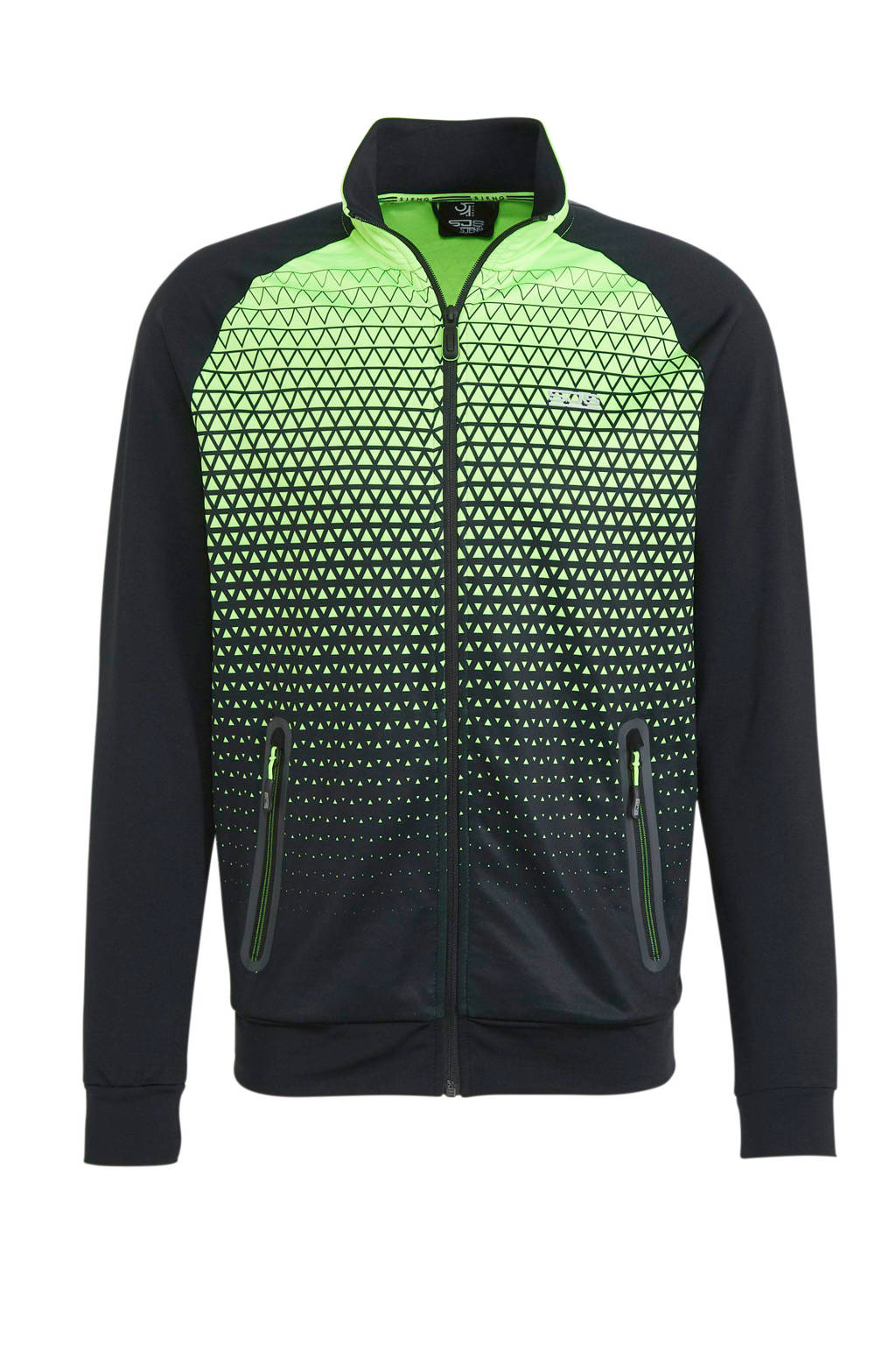 Sjeng Sports   vest Kingsley zwart/groen, Zwart/groen