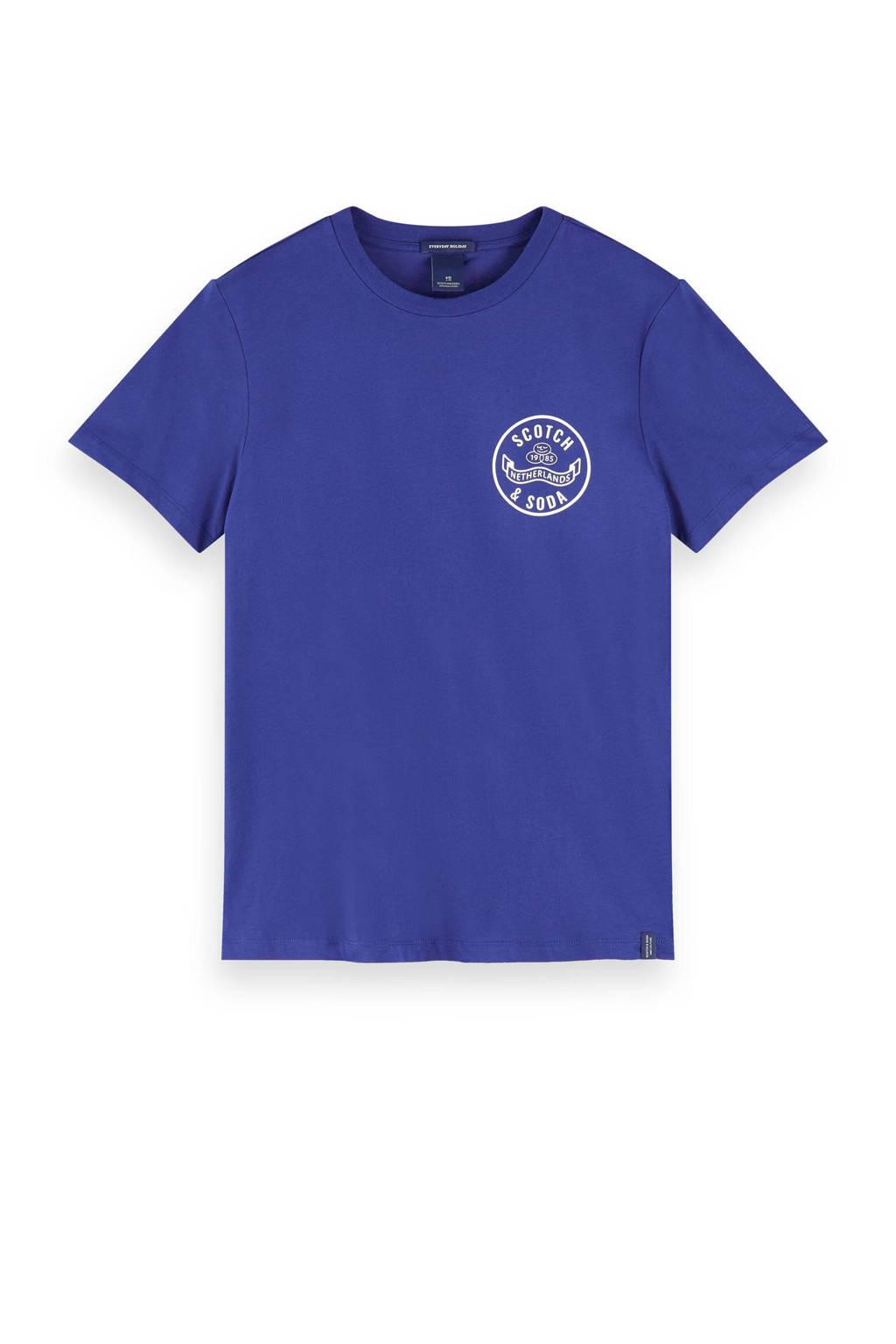 Scotch & Soda T-shirt met printopdruk blauw, Blauw