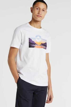 T-shirt met printopdruk wit/blauw/oranje