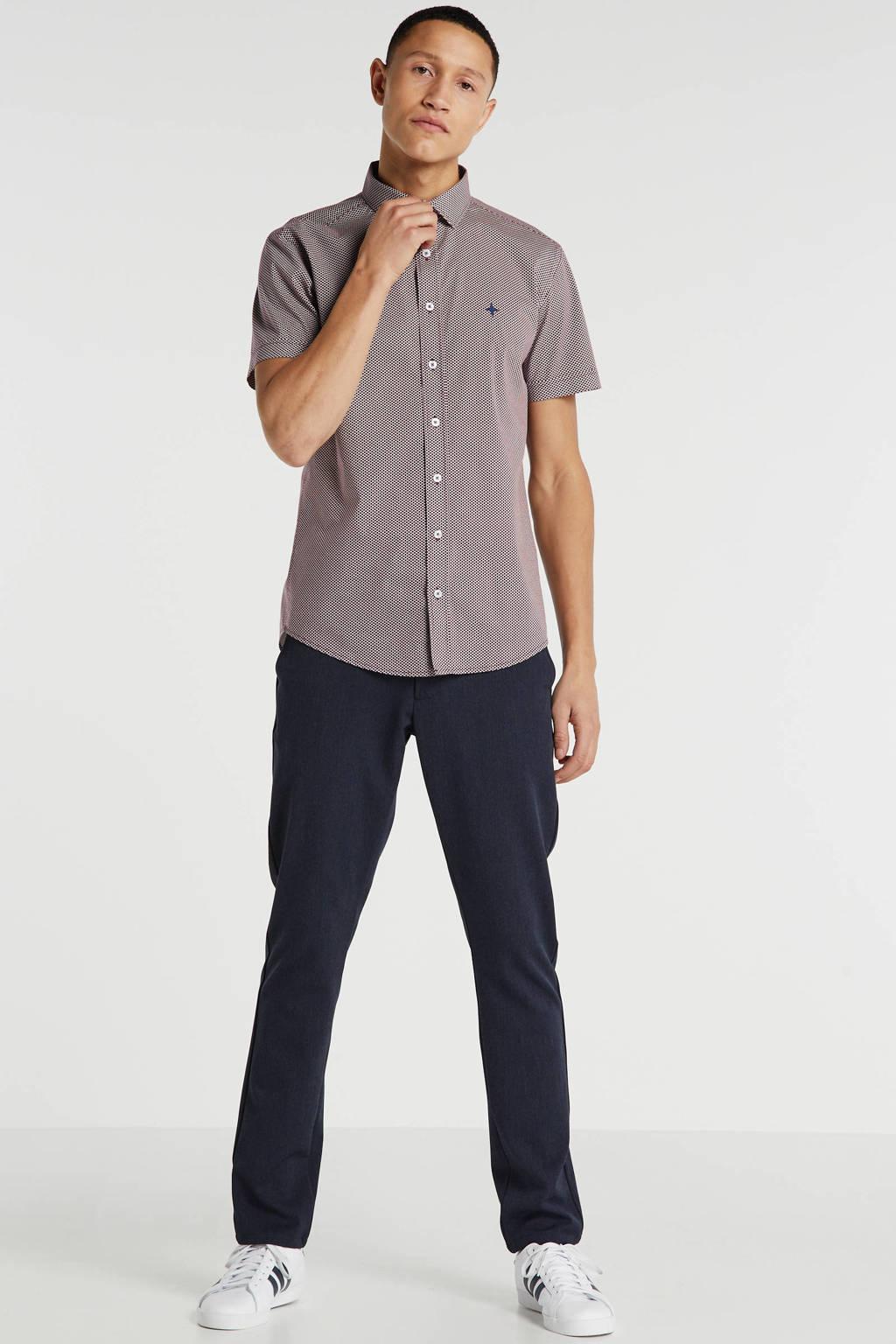 Haze & Finn slim fit overhemd met all over print donkerrood, Donkerrood
