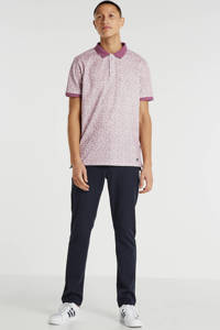 Haze & Finn regular fit polo met all over print roze/wit, Roze/wit