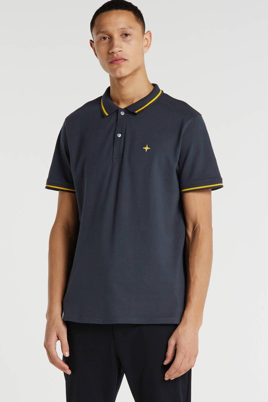 Haze & Finn slim fit polo met logo donkerblauw, Donkerblauw