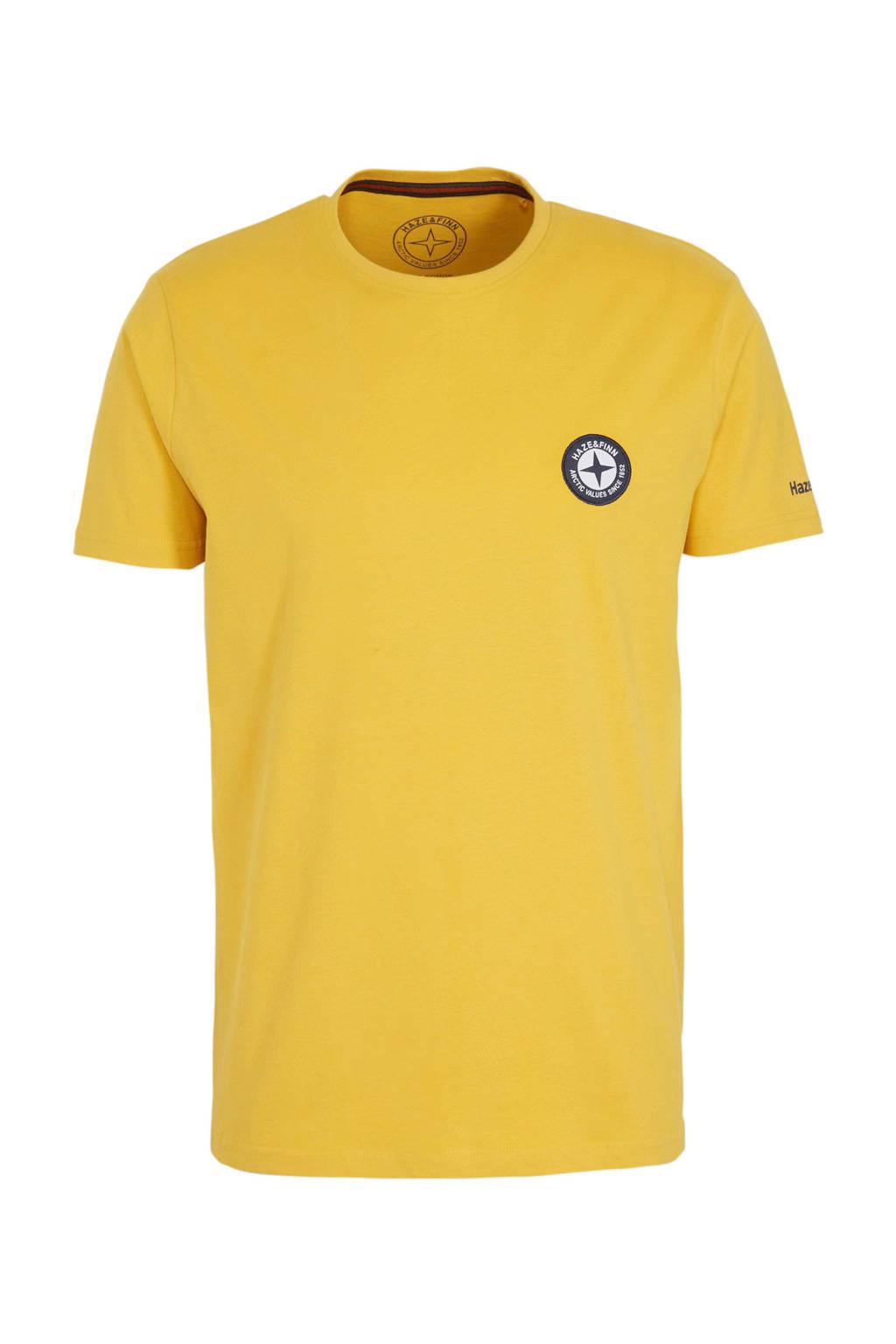 Haze & Finn T-shirt met logo geel/zwart, Geel/zwart