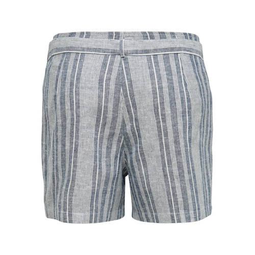 ONLY gestreepte high waist straight fit short blau