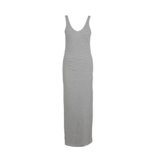 ONLY gestreepte maxi jurk wit/zwart