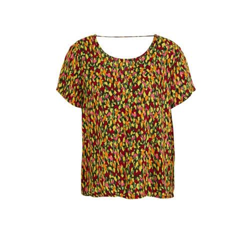 ONLY top met all over print groen/geel/rood
