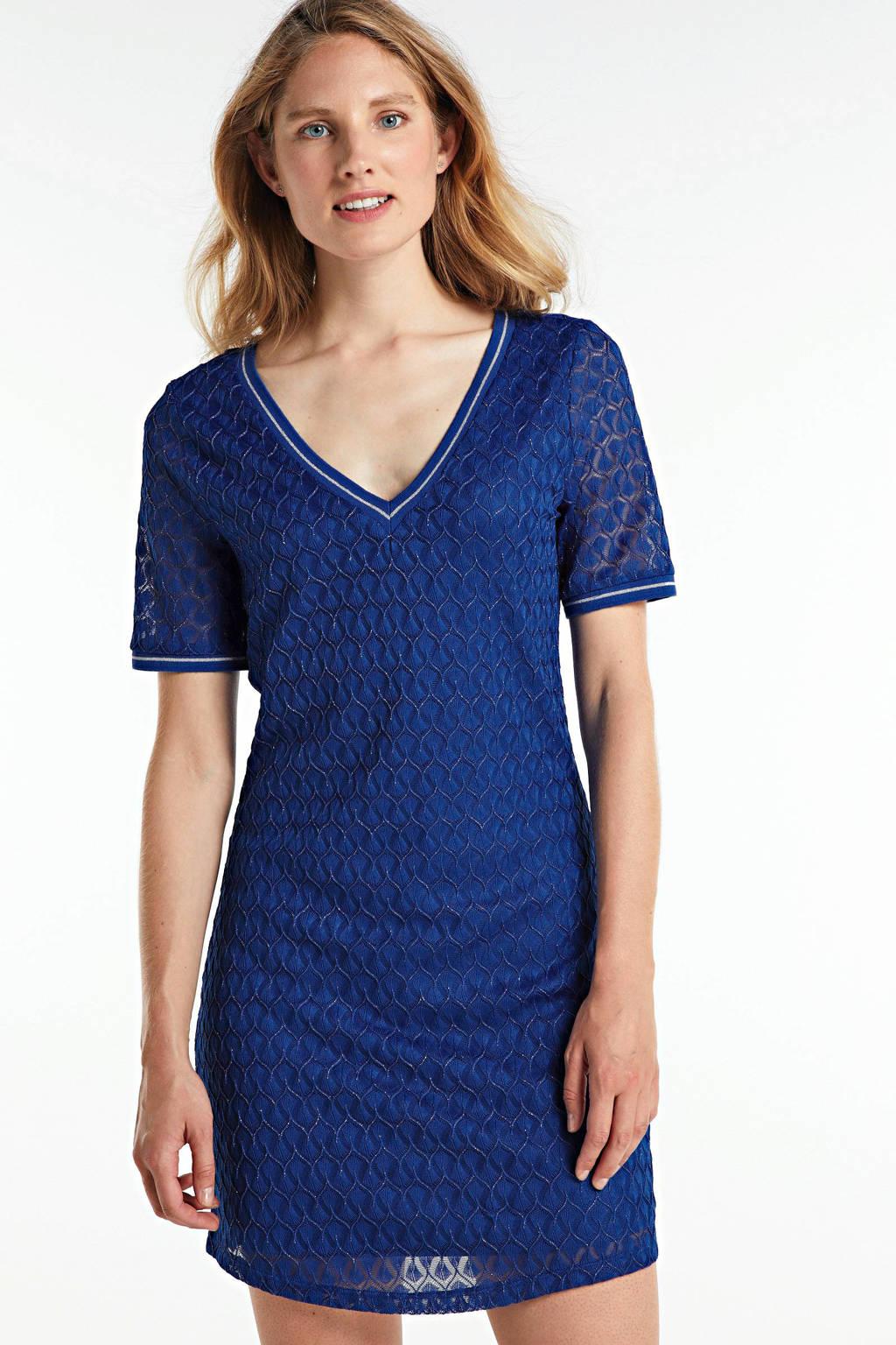 ONLY jurk met contrastbies blauw, Blauw