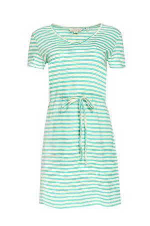 gestreepte jersey jurk Ashby van biologisch katoen mintgroen/wit