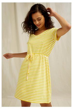 gestreepte jersey jurk Ashby van biologisch katoen geel/wit
