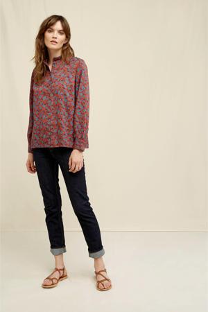 blouse met all over print rood/multikleuren