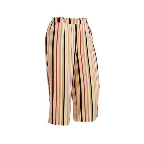 Yesta gestreepte high waist culotte beige/koraal