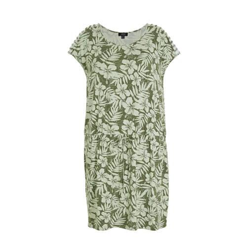 Yesta gebloemde jersey jurk lichtgroen/beige