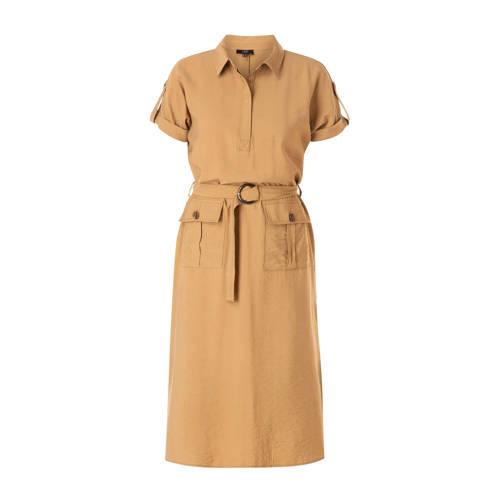 Yesta jurk met ceintuur beige