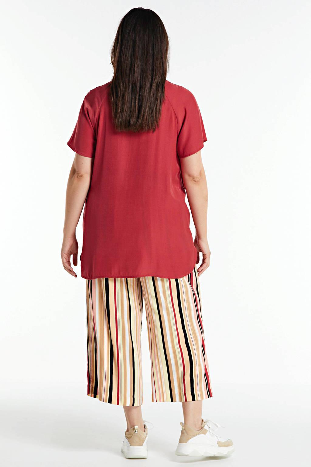 Yesta geweven top rood, Rood