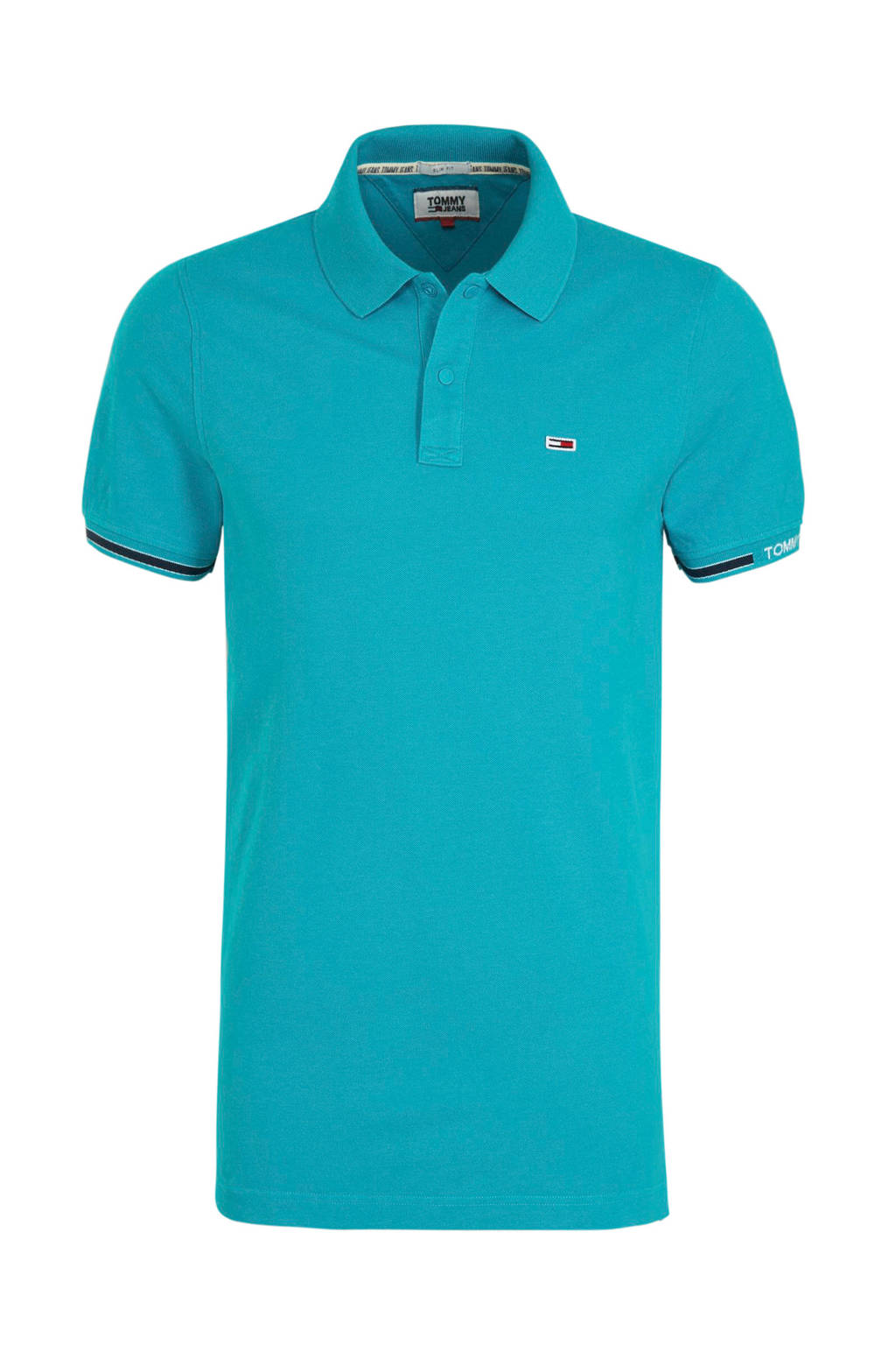 Tommy Jeans slim fit polo turquoise, Turquoise