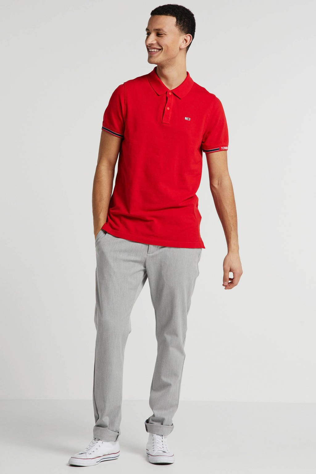 Tommy Jeans slim fit polo rood, Rood