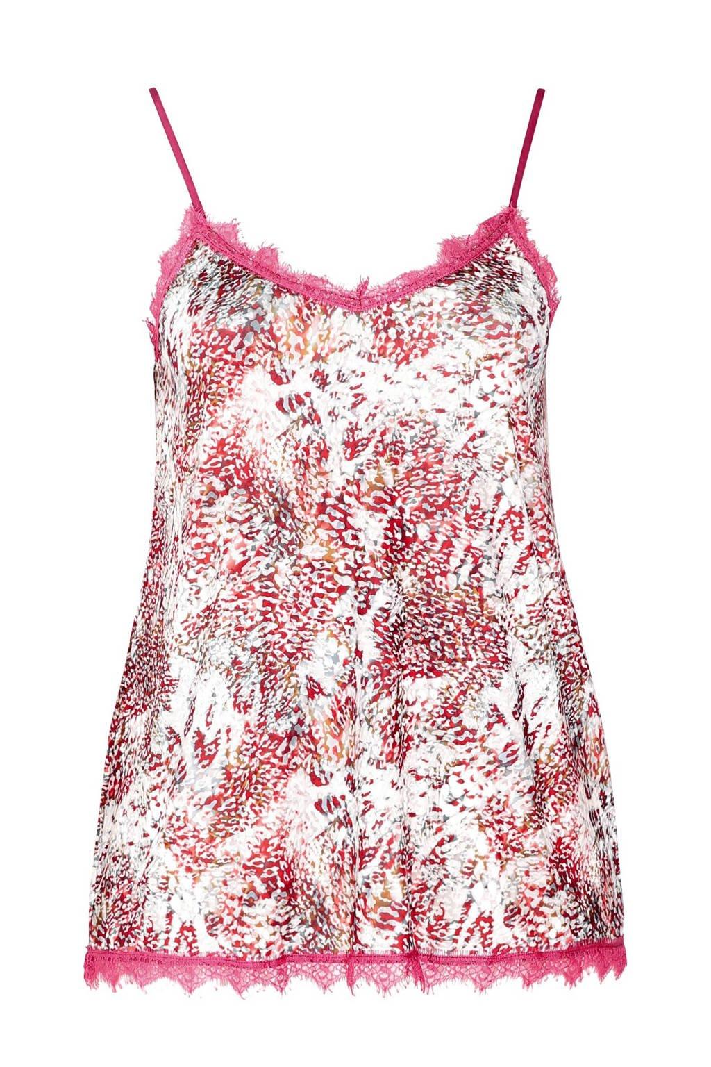 Paprika pyjamatop met all over print roze, Bordeaux