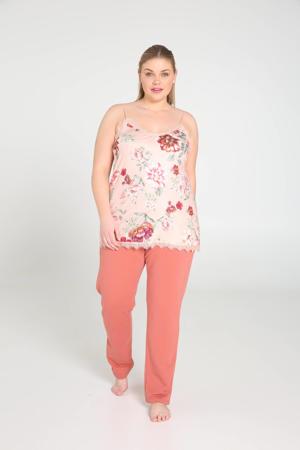 pyjamatop met all over print lichtroze