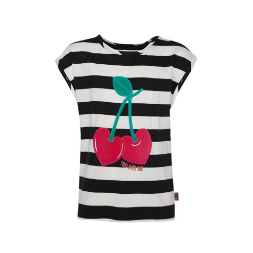 WE Fashion gestreept regular fit T-shirt zwart/wit